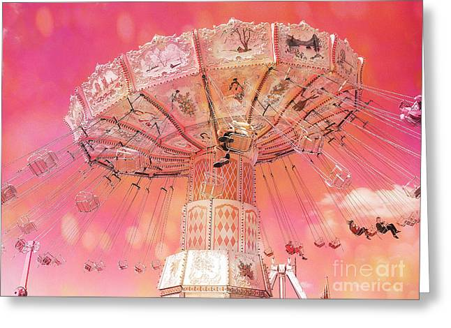 Art Decor Greeting Cards - Carnival Ferris Wheel Hot Pink Surreal Fantasy Ferris Wheel Carnival Art Hot Pink Greeting Card by Kathy Fornal