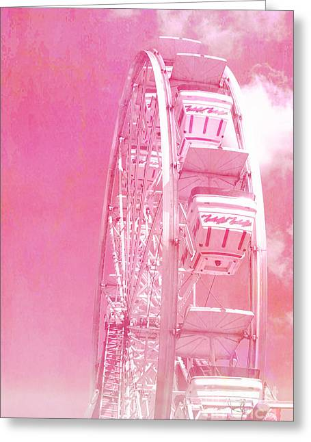 Festivals Fairs Carnival Photos Greeting Cards - Carnival Festival Baby Pink Ferris Wheel - Hot Pink Carnival Festival Ferris Wheel White Clouds Greeting Card by Kathy Fornal