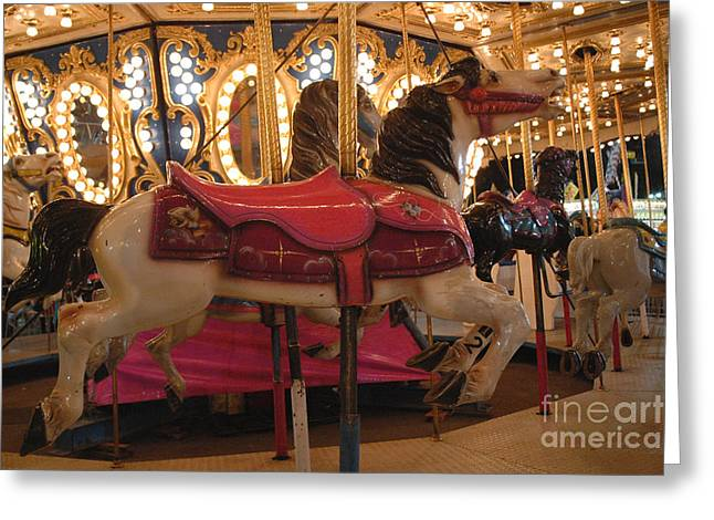 Festivals Fairs Carnival Photos Greeting Cards - Carnival Festival Merry Go Round Carousel Horses  Greeting Card by Kathy Fornal