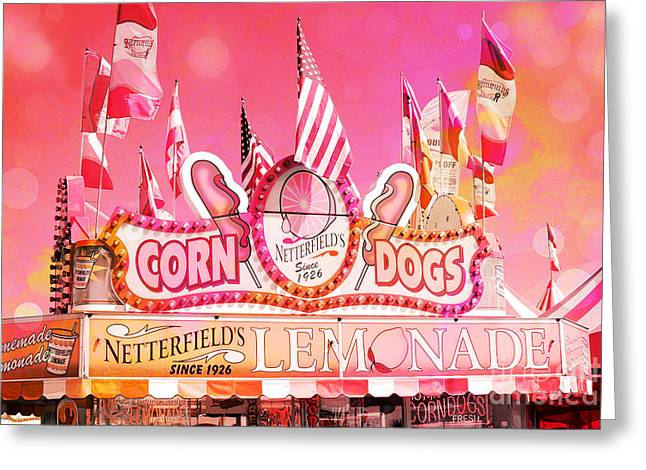 Candy Apples Greeting Cards - Carnival Festival Photos - Dreamy Hot Pink Orange Carnival Festival Fair Corn Dog Lemonade Stand Greeting Card by Kathy Fornal