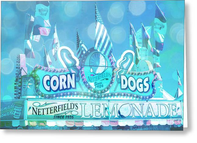 Festivals Fairs Carnival Photos Greeting Cards - Carnival Festival Photos - Dreamy Teal Aqua Blue Carnival Festival Fair Corn Dog Lemonade Stand Greeting Card by Kathy Fornal