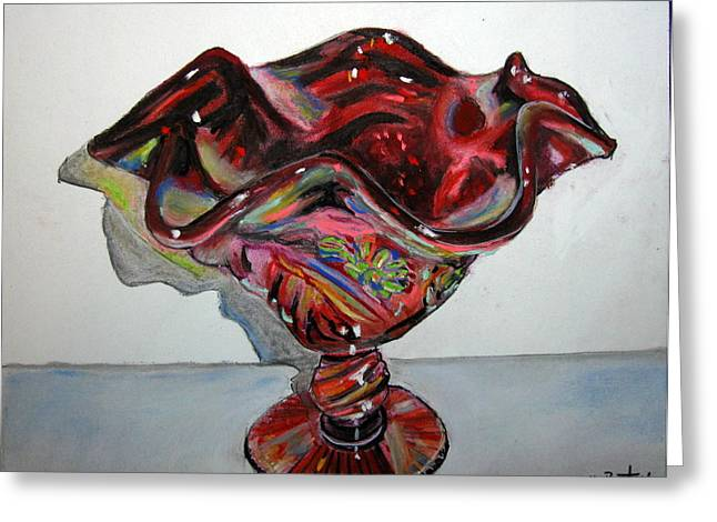 Bowl Pastels Greeting Cards - Carnival Glass Greeting Card by Mike Benton