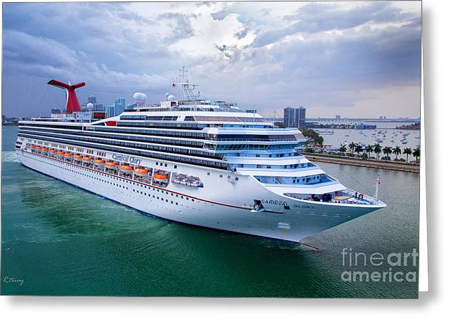 Carnival Glory Greeting Cards - Carnival Glory Leaving Miami Greeting Card by Rene Triay Photography