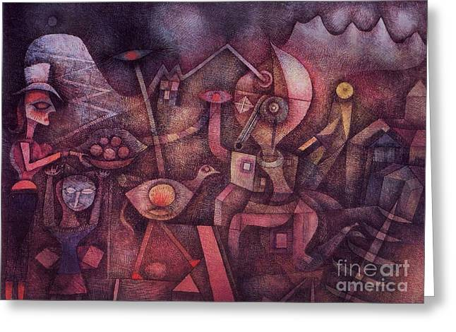 Swiss Paintings Greeting Cards - Carnival in the Mountains Greeting Card by Pg Reproductions