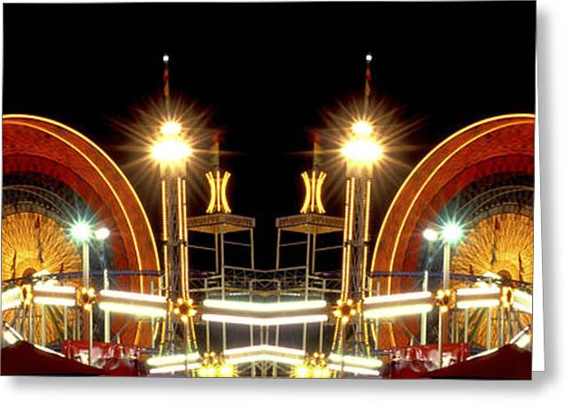 Carnival Ride Greeting Cards - Carnival Light patterns at night Greeting Card by Paul W Faust -  Impressions of Light