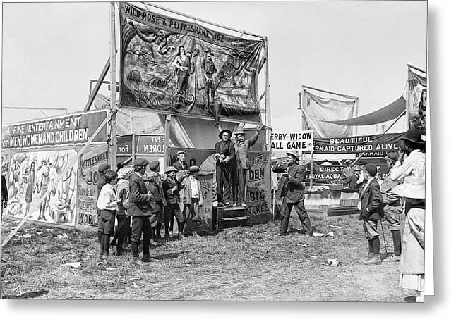 Freak Show Greeting Cards - Carnival Midway 1915 Greeting Card by Daniel Hagerman