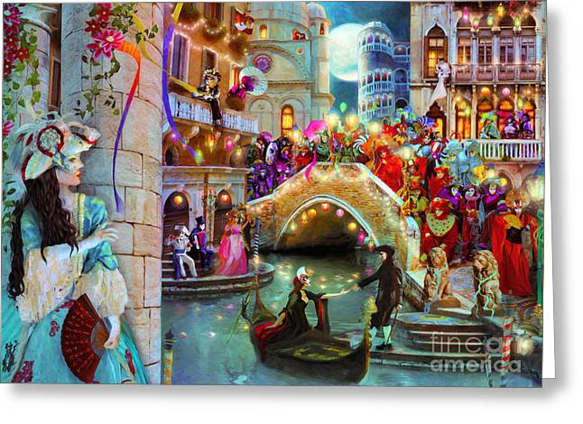 Stewart Greeting Cards - Carnival Moon Variant 1 Greeting Card by Aimee Stewart