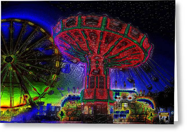 Surreal Ferris Wheel Greeting Cards - Carnival night A childs memory Greeting Card by David Lee Thompson
