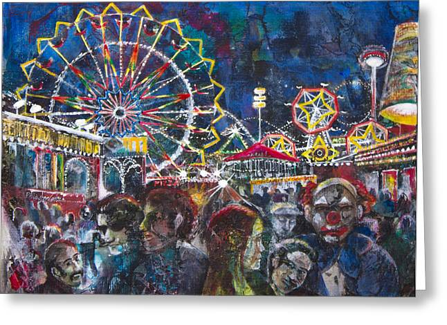 Crowd Mixed Media Greeting Cards - Carnival Greeting Card by Patricia Allingham Carlson