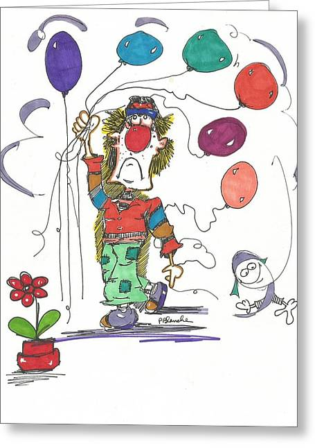 Balloon Flower Drawings Greeting Cards - Carnival Greeting Card by Philip Blanche