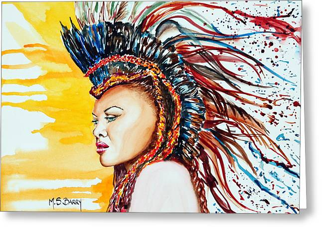 Exotic Women Greeting Cards - Carnival Queen Greeting Card by Maria Barry