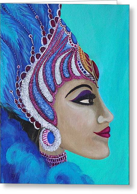 Carnival Spirit Greeting Cards - Carnival Queen Greeting Card by Parul Mehta