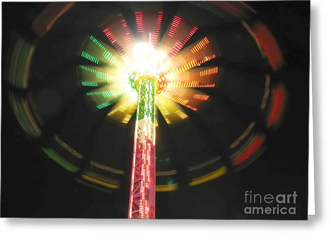 Starburst. Night Prints Greeting Cards - Carnival Ride at Night Greeting Card by Connie Fox