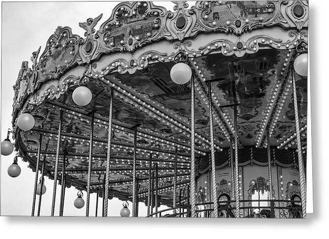 Fowler Park Greeting Cards - Carnival Ride in Mono Greeting Card by Nomad Art And  Design