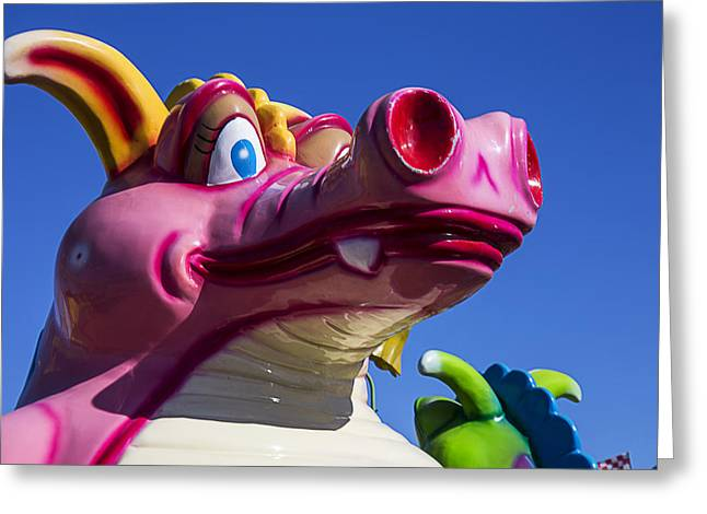 Fangs Greeting Cards - Carnival ride monster Greeting Card by Garry Gay