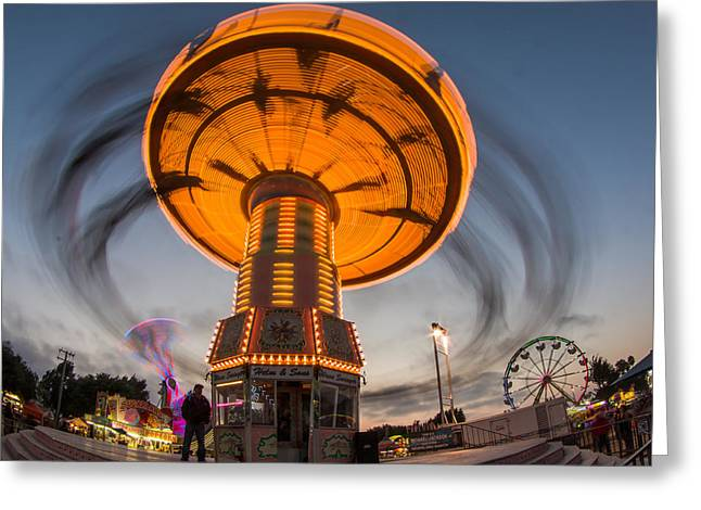 Exposure Greeting Cards - Carnival Ride Time Exposure 1 Greeting Card by Jay Blackburn