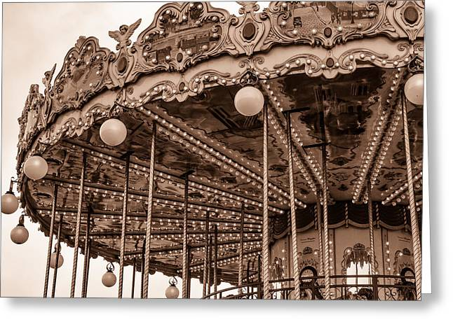 Carnival Ride Toned Greeting Card by Georgia Fowler