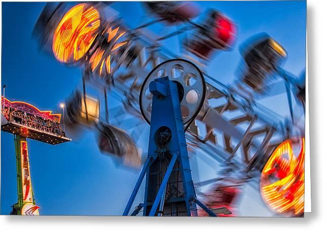 Vertigo Greeting Cards - Carnival Rides Greeting Card by Joan Herwig