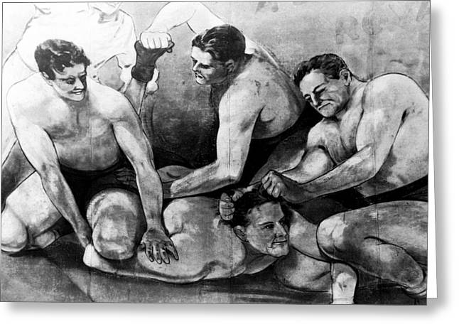 Freak Show Greeting Cards - Carnival Sideshow Wrestling Canvas  1942 Greeting Card by Daniel Hagerman