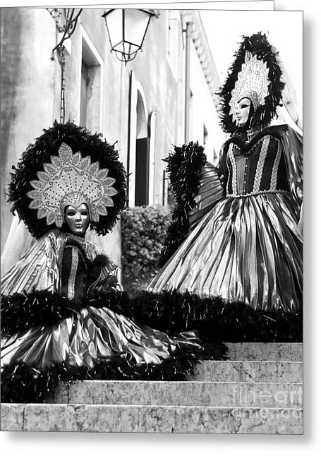 Celebration Art Print Greeting Cards - Carnival Sisters Greeting Card by John Rizzuto