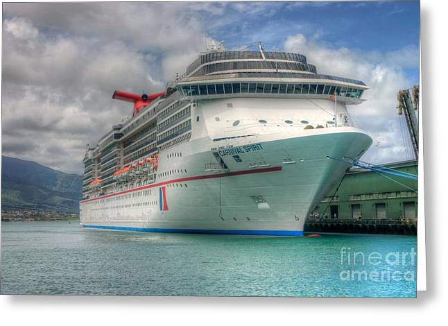 Carnival Spirit Greeting Cards - Carnival Spirit at Kahului Harbor Greeting Card by Andy Jackson