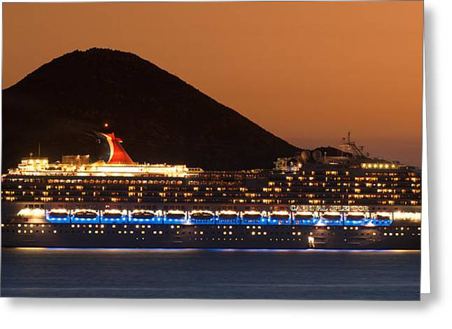 Silhouettes Greeting Cards - Carnival Splendor at Cabo San Lucas Greeting Card by Sebastian Musial