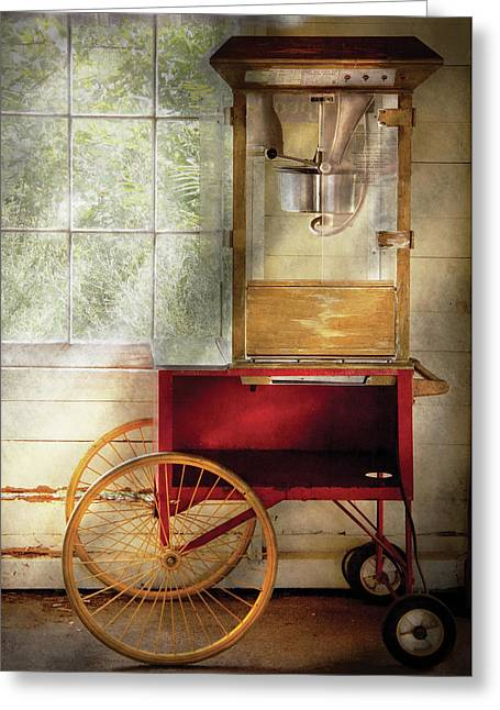 Carnie Greeting Cards - Carnival - The popcorn cart Greeting Card by Mike Savad