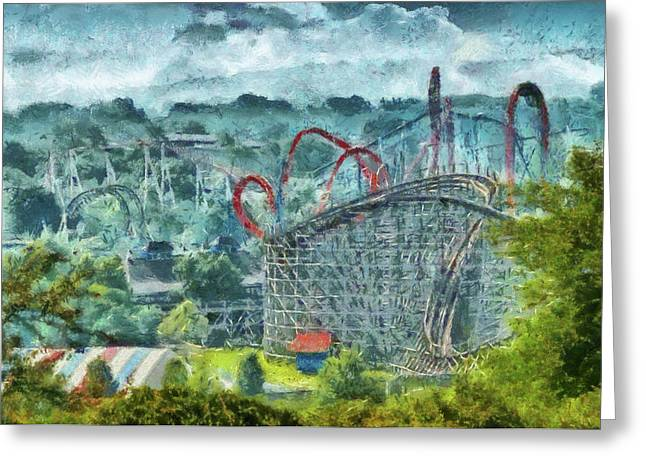 Great American Past Time Greeting Cards - Carnival - The thrill ride Greeting Card by Mike Savad