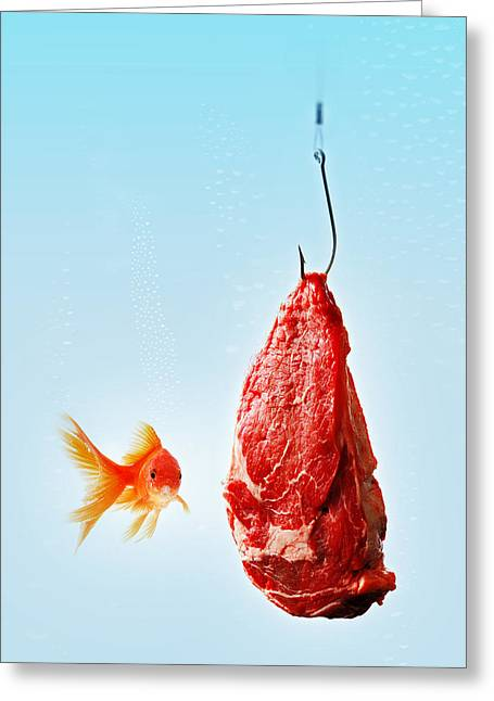 Meat Hook Greeting Cards - Carnivorous Goldfish Greeting Card by Roberto Adrian