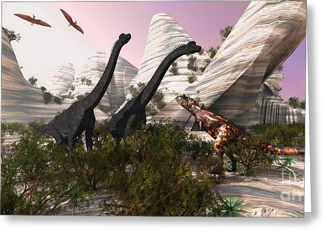 Triassic Greeting Cards - Carnotaurus Attack Greeting Card by Corey Ford