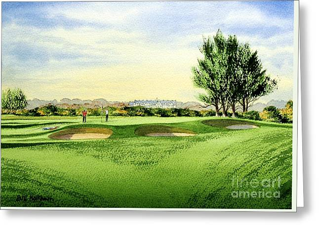 Links Courses Greeting Cards - Carnoustie Golf Course 13Th Green Greeting Card by Bill Holkham