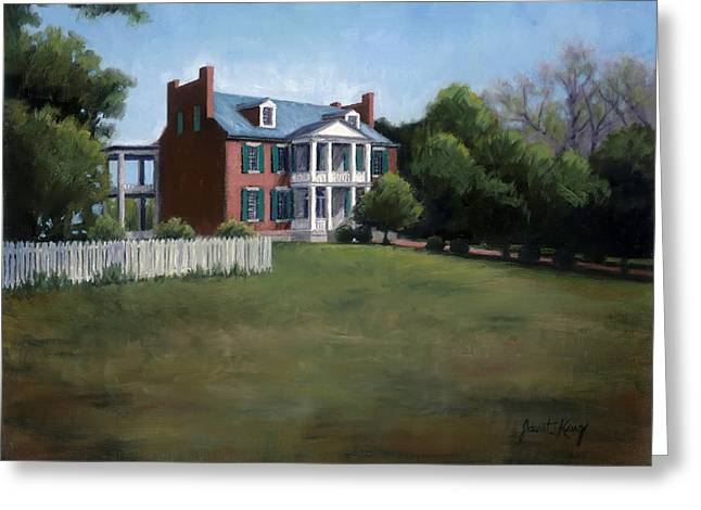 Pen And Ink Drawing Of Franklin Tennessee Greeting Cards - Carnton Plantation in Franklin Tennessee Greeting Card by Janet King