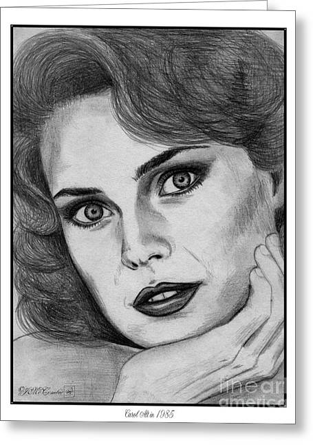 Fame Drawings Greeting Cards - Carol Alt in 1985 Greeting Card by J McCombie