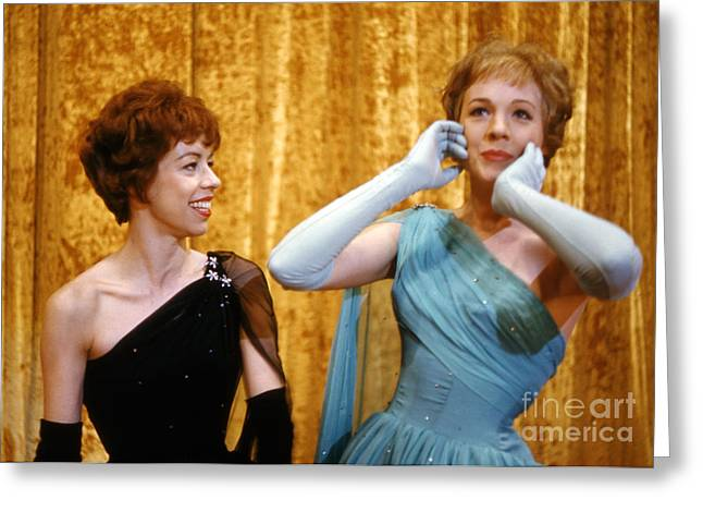 Julie Greeting Cards - Carol Burnett and Julie Andrews at Carnegie Hall 1962 Greeting Card by The Phillip Harrington Collection