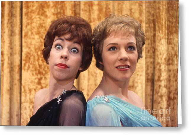Julie Greeting Cards - Carol Burnett and Julie Andrews Carnegie Hall 1962 Greeting Card by The Phillip Harrington Collection