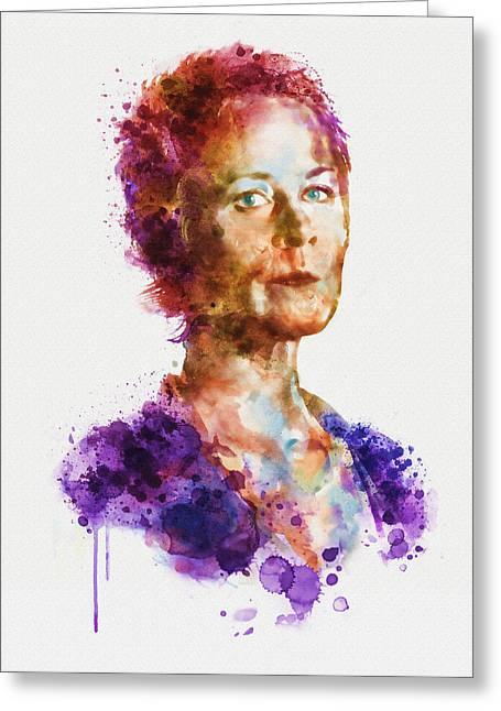 Carol Peletier Watercolor Portrait Greeting Card by Marian Voicu