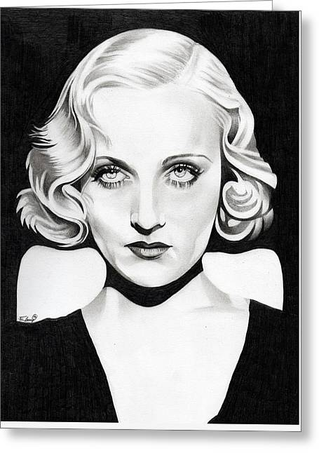 Loose Drawings Greeting Cards - Carole Lombard Greeting Card by Fred Larucci