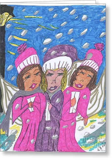 Snowy Night Mixed Media Greeting Cards - Carolers on a Snowy Night Greeting Card by Elinor Rakowski