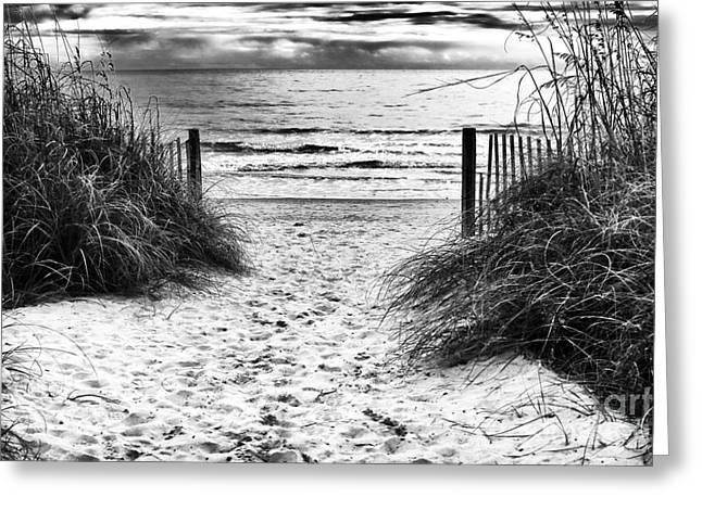 Carolina Beach Entry Greeting Card by John Rizzuto