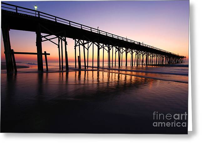 South Beach Framed Prints Greeting Cards - North Carolina Beach Pier - Sunrise Greeting Card by Wayne Moran