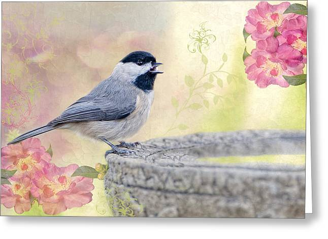 Birdbath Greeting Cards - Carolina Chickadee in Camellia Garden Greeting Card by Bonnie Barry