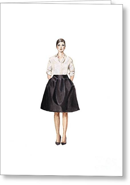 Fashions Greeting Cards - Carolina Herrera Classic Look Greeting Card by Jazmin Angeles