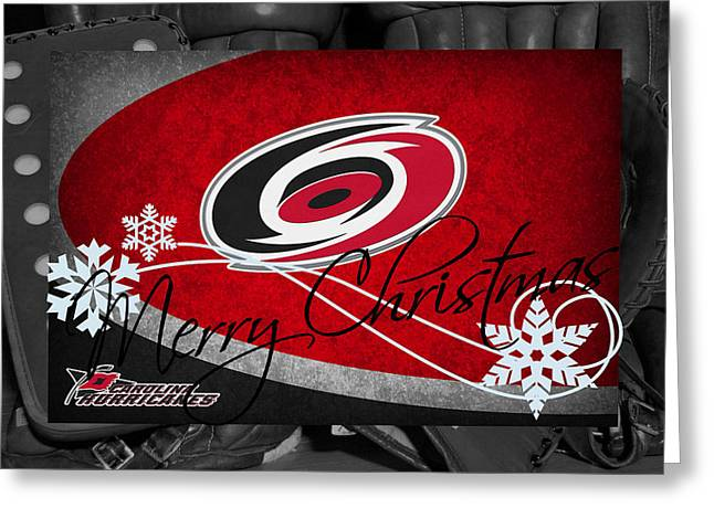 Skates Greeting Cards - Carolina Hurricanes Christmas Greeting Card by Joe Hamilton