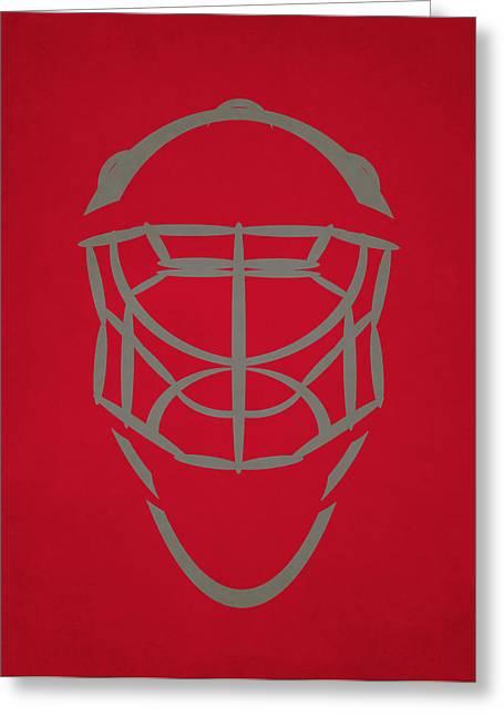 Carolina Hurricanes Greeting Cards - Carolina Hurricanes Goalie Mask Greeting Card by Joe Hamilton