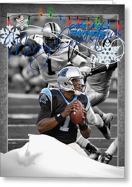 Carolina Panthers Christmas Card Greeting Card by Joe Hamilton