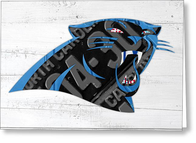 Carolina Mixed Media Greeting Cards - Carolina Panthers Football Team Retro Logo Recycled North Carolina License Plate Art Greeting Card by Design Turnpike