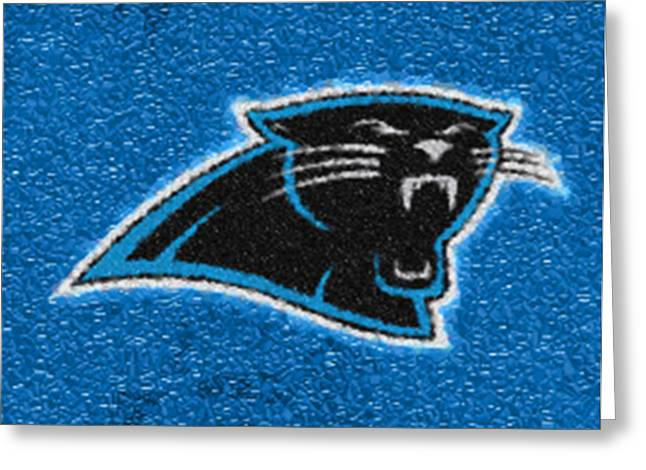 Division Greeting Cards - Carolina Panthers Mosaic Greeting Card by Jack Zulli