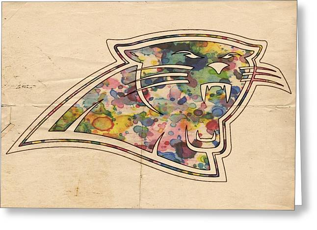 Carolina Panthers Poster Vintage Greeting Card by Florian Rodarte