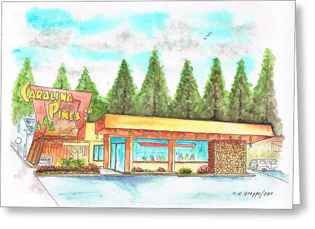 Sunset Greeting Cards Greeting Cards - Carolina Pines Coffee Shop in Hollywood - California Greeting Card by Carlos G Groppa