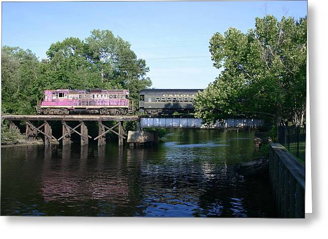 Passenger Train On Bridge. Greeting Cards - Carolina Southern Greeting Card by Joseph C Hinson Photography